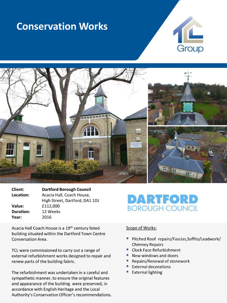 Dartford Borough Council – Acacia Hall Conservation Works