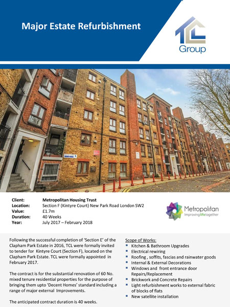 Metropolitan Housing Trust – Kintyre Court Clapham Park Estate Section F