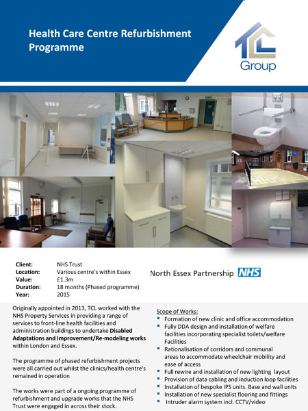 NHS Trust, Health Care Centre Refurbishment Programme