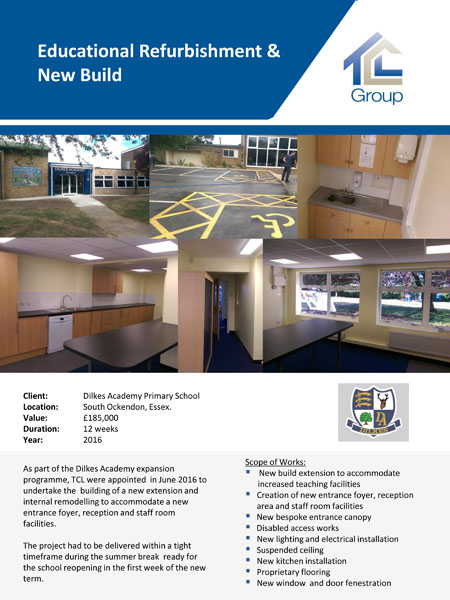Dilkes Academy Primary School – Educational Refurbishment