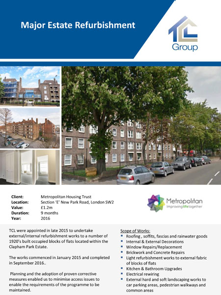 Metropolitan Housing Trust – Clapham Park Estate Refurbishment